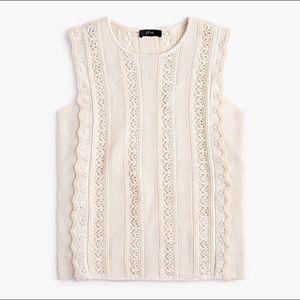 J. CREW Crewneck Sleeveless Scallop Sweater Large